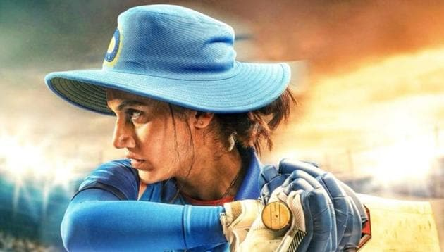 Shabaash Mithu poster featuring Taapsee Pannu as Mithali Raj.