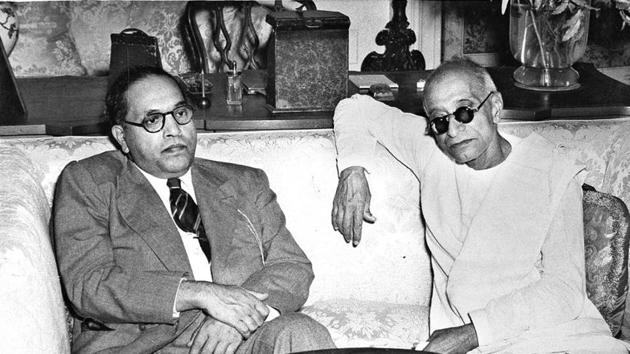 C Rajagopalachari (R), then governor general of India, with law minister BR Ambedkar on June 14, 1948 .(HT archives)