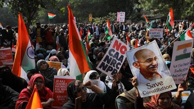 Demonstrators attend a protest against a new citizenship law in New Delhi.(Photo: Reuters)