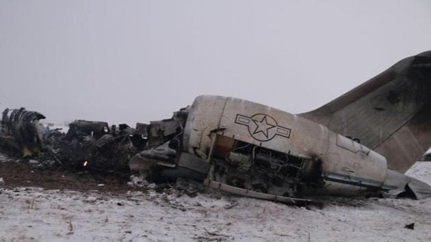 The wreckage of an airplane is seen after a crash in Deh Yak district of Ghazni province, Afghanistan.(Photo: REUTERS)
