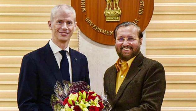French Minister for Culture Franck Riester with Union Minister Prakash Javadekar in New Delhi on Tuesday.(PTI Photo)