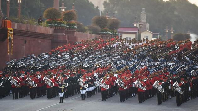 Marching bands from the armed forces perform during the Beating the Retreat ceremony in New Delhi on January 29, 2020. - The military ceremony is the culmination of the four-day long Republic Day celebrations and dates back to the days when troops disengaged themselves from battle at sunset.(AFP)