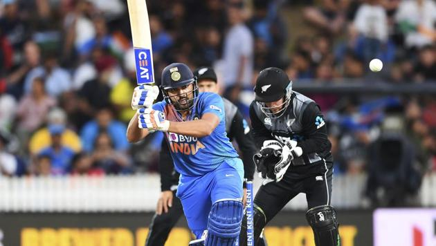 India's Rohit Sharma bats during the Twenty/20 cricket international between India and New Zealand in Hamilton, New Zealand, Wednesday.(AP)