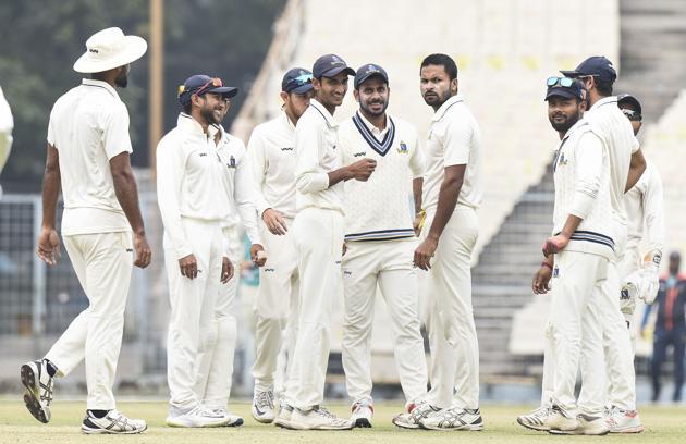 Kolkata: Bengal bowler Makes Kumar celebrates with teammates after the dismissal of Delhi batsman Anju Rawat during the 3rd day of the Ranji Trophy cricket match, at Eden Garden in Kolkata, Wednesday, Jan. 29, 2020.(PTI)