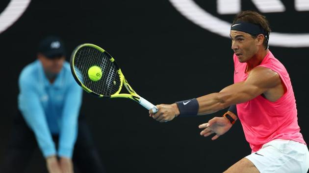 Spain's Rafael Nadal in action during his quarter final match against Austria's Dominic Thiem.(REUTERS)