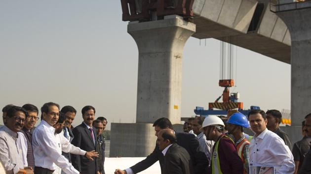Maharashtra chief minister Uddhav Thackeray recently launched the first girder for the MTHL.(Satish Bate/HT Photo)