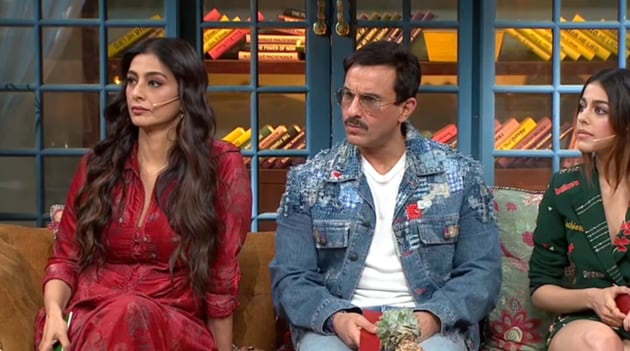 Tabu, Saif Ali Khan and Alaya F during Jawaani Jaaneman promotions on The Kapil Sharma Show.