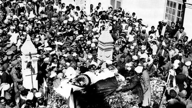 Mahatma Gandhi's body at Birla House after his assassination on January 30, 1948.(Courtesy: National Gandhi Museum)