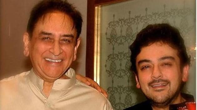Singer Adnan Sami with his father in his Father's Day post.(Instagram)