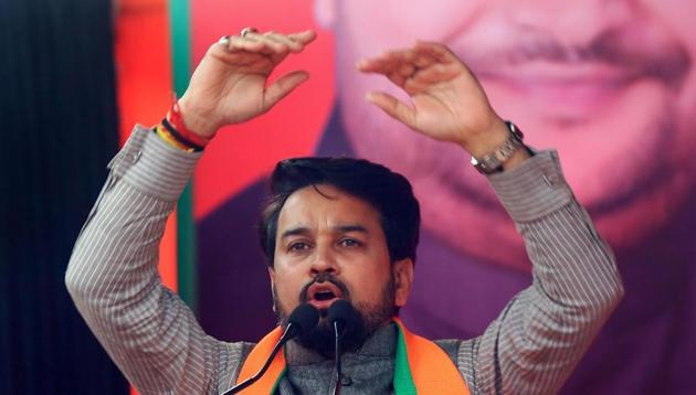 Union minister and BJP MP Anurag Thakur in New Delhi, January 27, 2020(PTI)