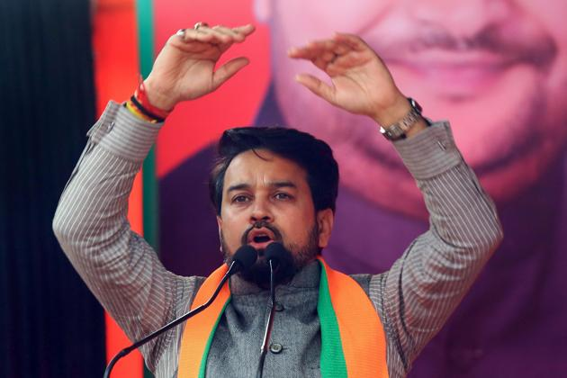 New Delhi: Union minister and BJP MP Anurag Thakur addresses an election campaign ahead of the forthcoming Delhi Assembly elections, in New Delhi, Monday, Jan. 27, 2020. Thakur on Monday egged on participants of an election rally to raise an incendiary slogan after he lashed out at anti-CAA protestors.(PTI)