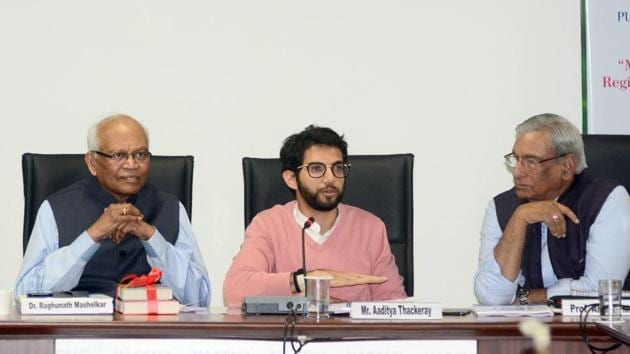 From Left: Raghunath Marshelkar, Aadithya Thackeray and Amitav Mallick during a board meet on making Pune a carbon neutral, in the city on Wednesday.(Shankar Narayan/HT PHOTO)