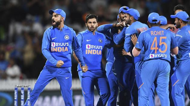 India captain Virat Kohli celebrates as the game is tied and goes to a super over during the Twenty/20 cricket international between India and New Zealand in Hamilton, New Zealand, Wednesday, Jan. 29, 2020.(AP)