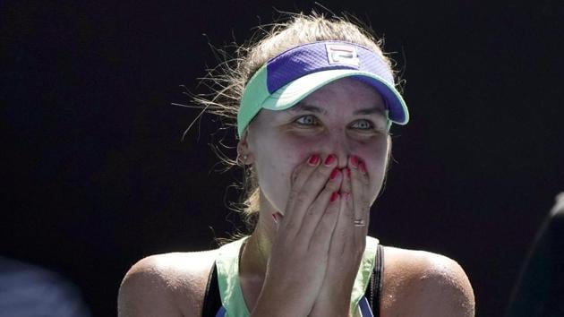 Sofia Kenin of the U.S. reacts as she is interviewed on court after defeating Australia's Ashleigh Barty(AP)