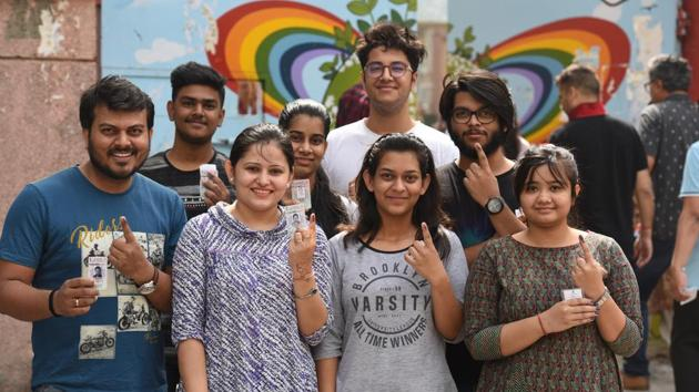 First time voters showing ink marked finger at IP Extension School in East Delhi.(Raj K Raj/HT PHOTO)