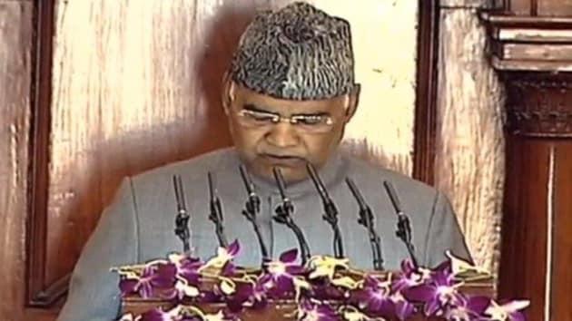 President Ram Nath Kovind addresses both Houses of Parliament on Friday.(ANI photo)