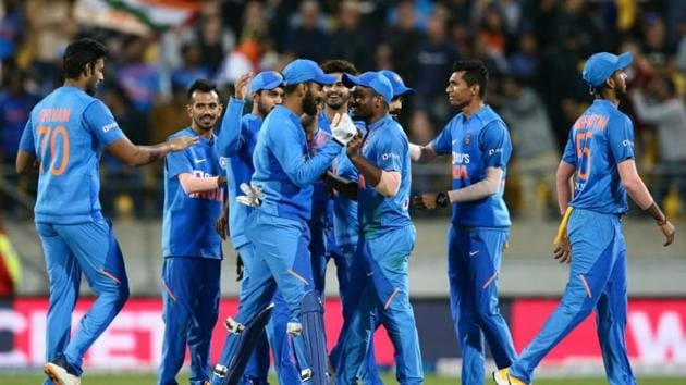 Indian team celebrates win over New Zealand.(BCCI/Twitter)