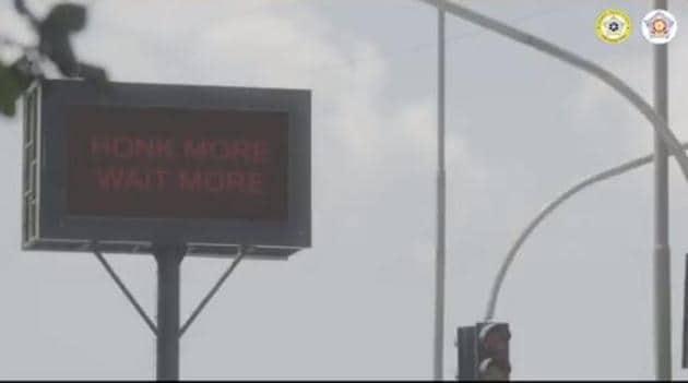 """Horn not okay, please!"" says Mumbai Police.(Twitter/Mumbai Police)"
