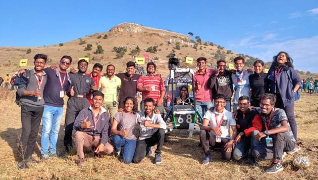 DY Patil Engineering College, Akurdi, under the moniker of Predators, won one of the country's most prestigious auto competitions, the Baja-SAE India-20. The multi-discipline team, all contributed to creating the vehicle (seen in pic), which swept the prizes.(HT/PHOTO)