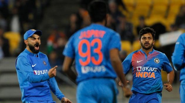 Virat Kohli celebrates in the fourth T20I.(BCCI)