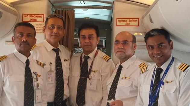 The cockpit crew of the special Air India aircraft that has been sent to evacuate Indians from the Cornonavirus-hit Wuhan city in central China on Friday.(PHOTO:SOURCED.)