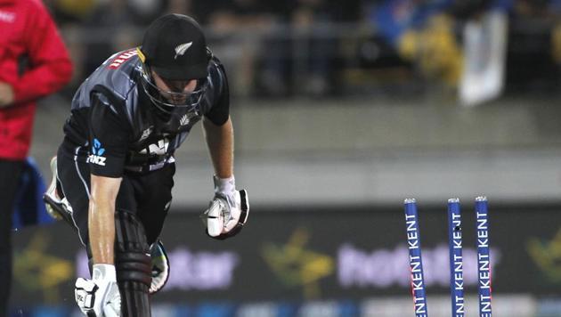 Colin Munro is run-out by Virat Kohli.(BCCI/ Twitter)