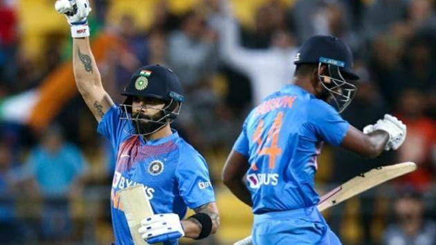 India captain Virat Kohli hits the winning runs.(BCCI/Twitter)