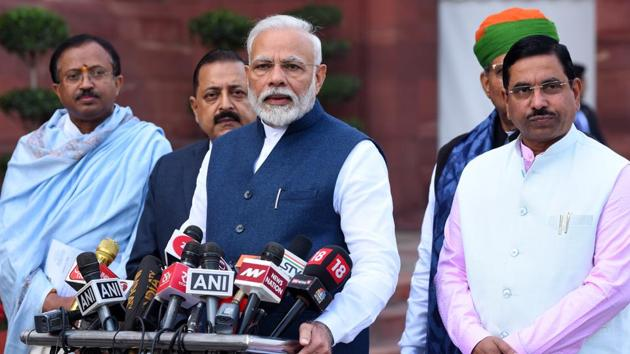 Prime Minister Narendra Modi told NDA lawmakers to strongly back the Citizenship Amendment Act (CAA).(Mohd Zakir/HT PHOTO)