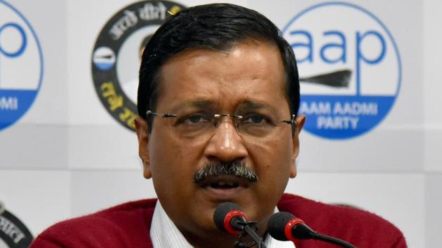 Chief Minister of Delhi Arvind Kejriwal addresses a press conference at the Party office in New Delhi on January 30.(ANI photo)
