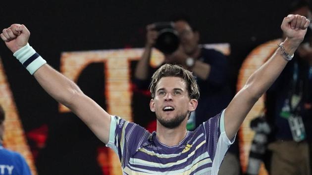 Austria's Dominic Thiem celebrates after defeating Germany's Alexander Zverev.(AP)