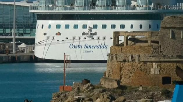 The Costa Smeralda cruise ship carrying around 6,000 passengers is docked at the Italian port of Civitavecchia following a health alert due to a Chinese couple and a possible link to the coronavirus.(via REUTERS)