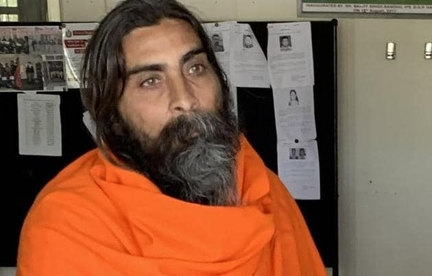 Swami Lakshyanand Saraswati in Panchkula on Thursday.(Sant Arora/HT)