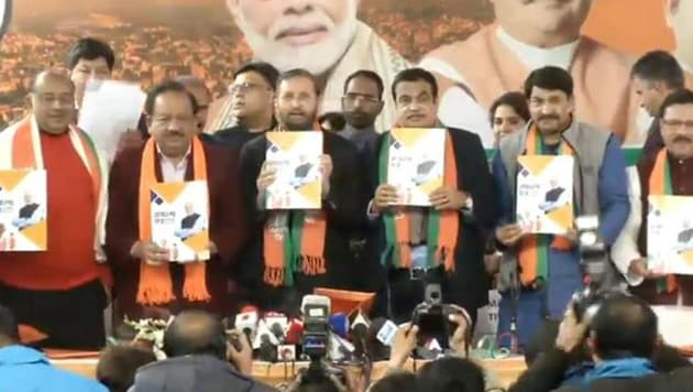 BJP leaders launching the party's manifesto for Delhi Assembly elections.(Twitter/@BJP4India)