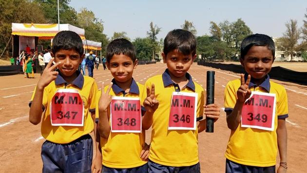 Boy's under-8 Bhave Prathmic during the Inter School Athletics meet at Maharashtriya Mandal, Mukkundnagar on Saturday in Pune, India, on Friday, January 31, 2020.(Rahul Raut/HT PHOTO)