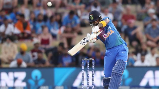 India's KL Rahul plays a shot during the fifth Twenty20 cricket match.(AFP)