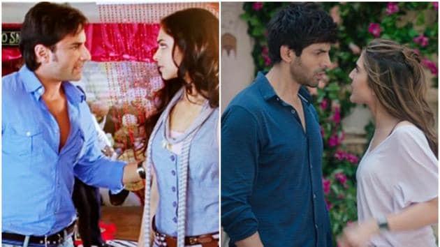 Saif Ali Khan and Deepika Padukone in the original Love Aaj Kal (L) and Sara Ali Khan and Kartik Aaryan in the new Love Aaj Kal.