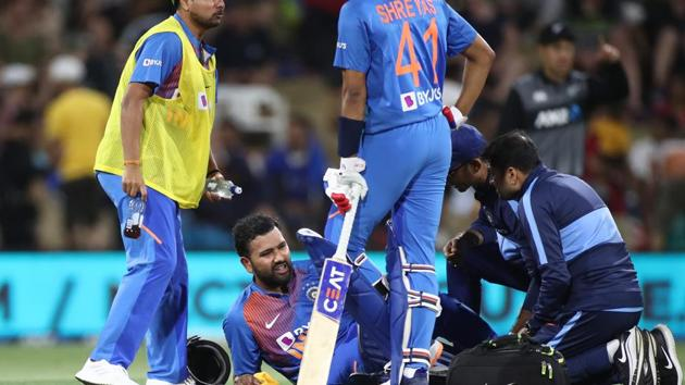 Rohit Sharma suffered a calf injury in the 5th T20I against NZ(Getty Images)