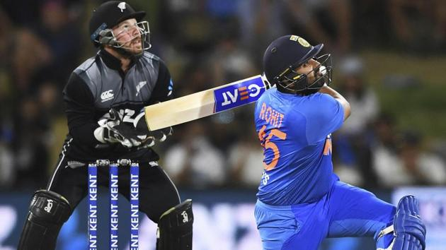 Rohit Sharma in action during the fifth T20I encounter between India and New Zealand.(AP)