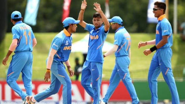 Indian players react after taking a wicket against Pakistan.(Cricket World Cup/ Twitter)