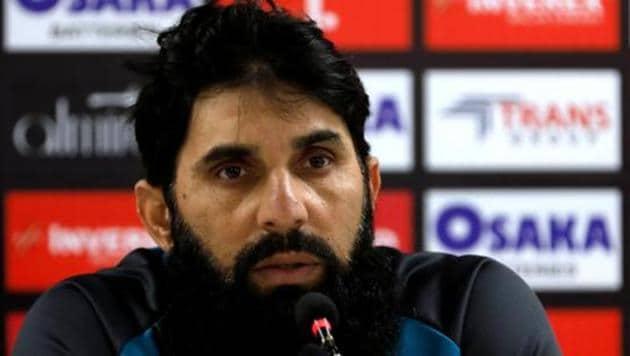 Pakistan's cricket coach Misbah-ul-Haq speaks during a news conference at the National Stadium, Karachi, Pakistan December 17, 2019.(REUTERS)