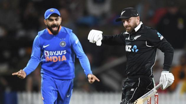 Hamilton: New Zealand's Tom Blundell is stumped by KL Rahul off the bowling of Kuldeep Yadav as Virat Kohli looks on(AP)