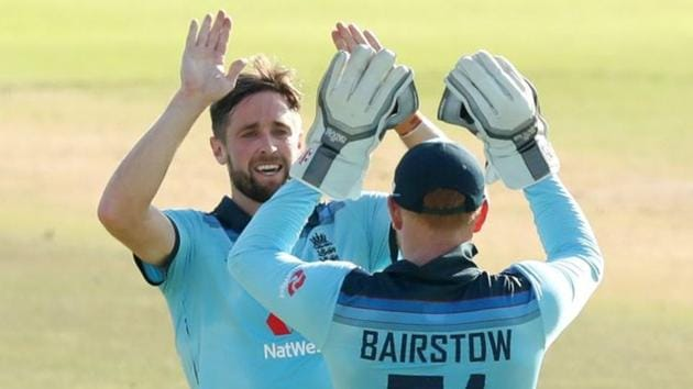 File image: England's Chris Woakes celebrates with Jonny Bairstow after taking the wicket of South Africa's Reeza Hendricks.(REUTERS)