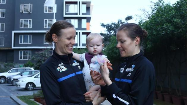 Denmark's Kamilla Rytter Juhl (left) and Christinna Pedersen with their daughter Molly.(HT Photo)