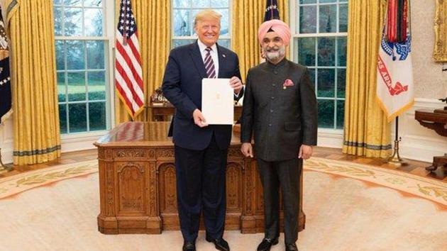 Ambassador of India to the USA Taranjit Singh Sandhu with President Donald J Trump.(@SandhuTaranjitS/Twitter Photo)