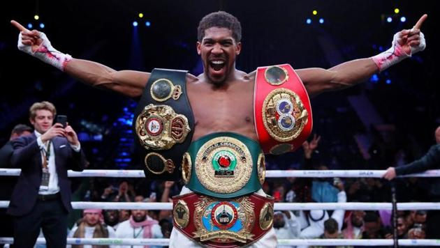 Anthony Joshua celebrates winning his fight against Andy Ruiz Jr.(Action Images via Reuters)