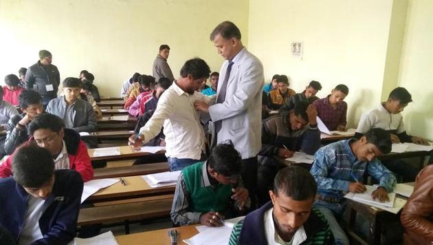 Chairman, Bihar School Examination Board, Anand Kishore is inspecting the examination centre during Intermediate examination in Patna. Bihar India on Wednesday Feb 5,2020.(Photo by Santosh Kumar/Hindustan Times)