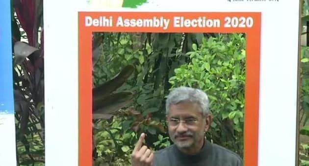 Foreign minister S Jaishankar after casting vote for Delhi Assembly elections on Saturday.(ANI Photo)