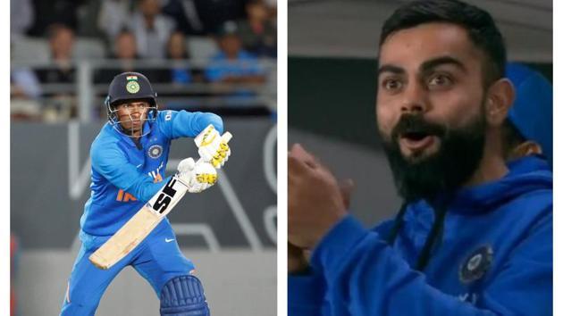 Navdeep Saini impressed Virat Kohli with the bat.(HT Collage)
