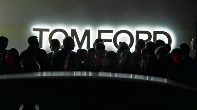 Attendees wait for transportation outside the Tom Ford AW20 Show at Milk Studios in Los Angeles, California. (REUTERS)