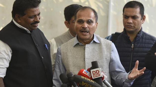 Adhir Ranjan Chowdhury said on Sunday his party never expected to do well in the Delhi assembly elections(Sanjeev Verma/HT PHOTO)